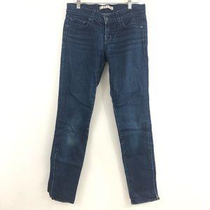 J Brand 26 Dark Deal: Skinny Leg Zipper Hem Jeans